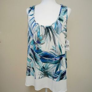 NWT Karen Kane Sea Glass Tropical Tank Blue Green